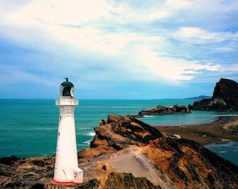 Castlepoint | World Travel New Zealand Nature Landscape Beach Lighthouse Photography, Fine Art, Wall Art, Home Decor Print
