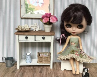 1:6 shabby chic  commode with mirror and casket- furniture for Blythe, Pullip, Barbie, Monster High, Lati or any other 12 inch dolls