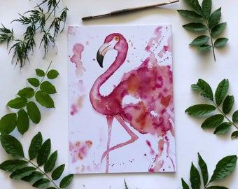 Flamingo Watercolour Print A3