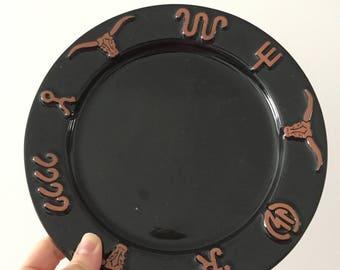 Frankoma Pottery, Ranch Black, Salad Plate, Set of Four