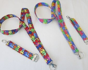 Autism Awareness Lanyards or Key Fobs, Now in Bold or Watercolors