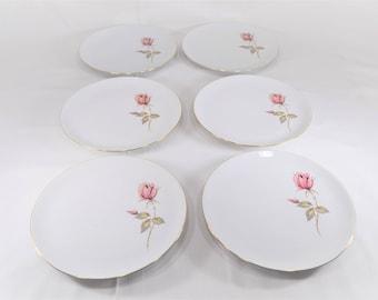 Vintage Johann Haviland China,Summer Rose Pattern,Dinner Plates,Set Of 6,Gold Trim China,Dinner Ware,Table Decor,