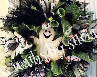Ghost Halloween Wreath, Halloween Wreath, Mesh Halloween wreath