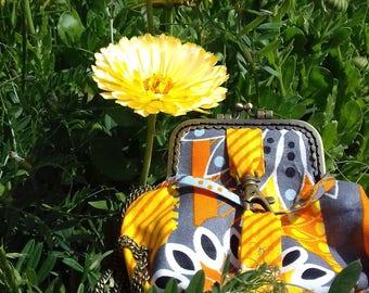 Sac à main d'été petit / portefeuille / pochette Minaudière / coton imprimé ethnique africain / Wax imprime / de couleur jaune