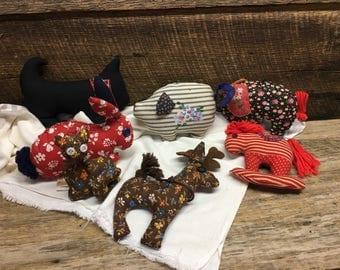 Vintage Handmade Stuffed Fabric Animals/Set of Seven/Bunny/Horse/Elephant/Pig/Cat/Dog/Deer/Farmhouse Decor