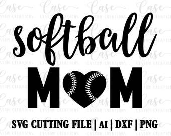 Softball Mom SVG Cutting File, Ai, Dxf and PNG   Instant Download   Cricut and Silhouette   Softball Heart   Mom LIfe   Sports   Mom