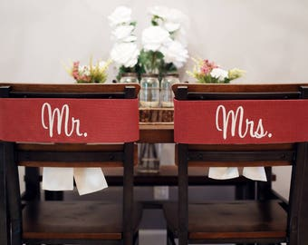 Wedding Sweetheart Table Ideas, Mr and Mrs Signs for Wedding Chairs, Custom Wedding Chair Signs, Chair Banners for Wedding, ,