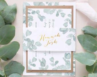 Eucalyptus wedding bellyband Invitation package, botanic invitation, leafy wedding invite