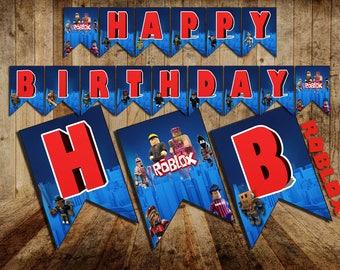 Roblox, Roblox Birthday Banner, Roblox Banner Happy Birthday, Roblox Birthday, Roblox Party, Roblox printable