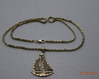14K Gold Sailboat Charm With 14K Gold Chain, 16 Inch
