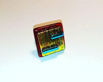 POMEGRANATE ring square dichroic fused glass fusing