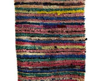 Used Moroccan Berber Boucherouite rug - Origin Azilal, Morocco.