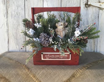 Hearts Come Home for Christmas Floral Arrangement, Christmas Centerpiece with Deer, Deer Christmas Arrangement, Holiday Arrangement