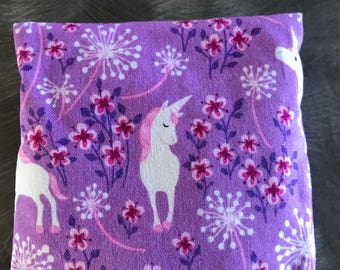 Empty fabric pouch or sachet cover purple and pink with Flowers and Unicorns