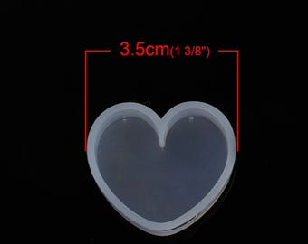 x 1 soft mold silicone white heart 35mm x 31mm