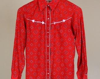 Best Summer Sale Cowgirl Bandana Print Western Button Down Shirt