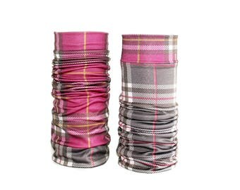Turn Lycra arm warmers polyester tartan plaid red taupe