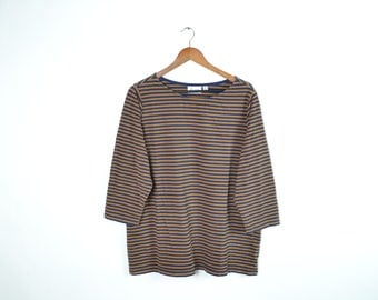 Vintage Blue and Gold Striped Long Sleeve Shirt