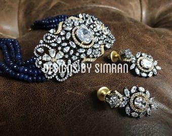 Blue Victorian Choker Necklace Set