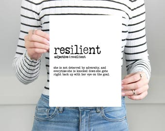 Resilient Definition Print - 8x10 - Anthem - Mounted Print - Foam Core  - Inspired - Motivational - Define - Define Your Anthem