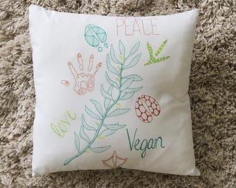 """Peace Love Vegan // 16"""" x 16"""" Throw Pillow"""