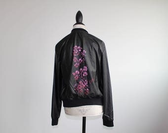 Upcycled Black Leather Jacket with Flowers