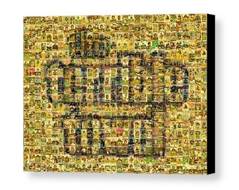 Unique, Large Pittsburgh Steelers Terrible Towel Mosaic Art Print made of over 370 Player Card Images.  All the Great Past & Present Stars!