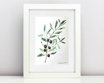 Olive branch painting Olives Watercolor Original watercolor painting  Botanical Leaf Watercolor Wall Kitchen Art