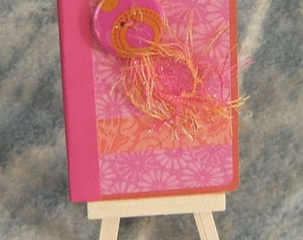 Pocket Journal, 1960s Mod Motif, Mini Composition book, Handmade, Hot Pinks, Oranges, Large Button, Eyelash Fibers, Small Journal