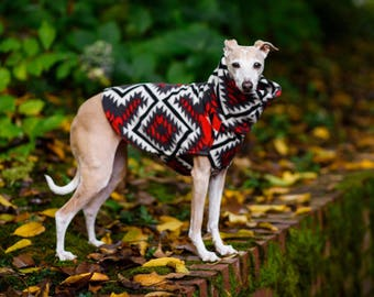 Italian Greyhound Basenji Double-Lined Anti-Pill Southwest Fleece Dog Sweater. Dog Clothes. Italian Greyhound Clothing. Small Dog Clothing