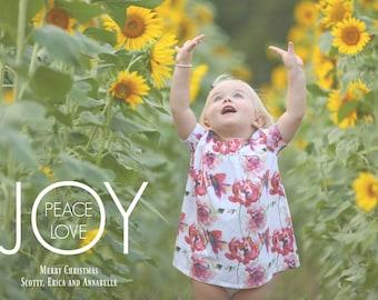 PRINTABLE CHRISTMAS CARD-Peace, Love, Joy