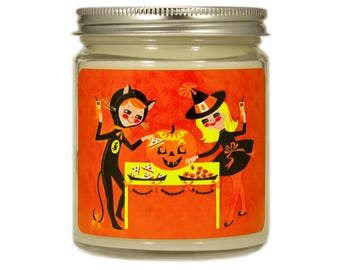 Halloween Candle, Scented Candle, Soy Candle, Container Candle, Fall Candle, Halloween Candle, Halloween Decor, Vintage Halloween