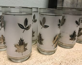 Vintage Hostess Glassware by Libby- Silver Oak Leaf Frosted Glasses - Boxed Set of 8