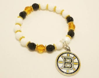 NHL team bracelet - Boston Bruins team bracelet - Bruins - Boston bruins - Hockey fans bracelet - Charm bracelet - Woman's bracelet - Gift