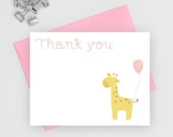 Girl baby shower thank you note cards, thank you cards , thank you notes, thank you cards baby shower, baby stationery, flat note cards, GBB