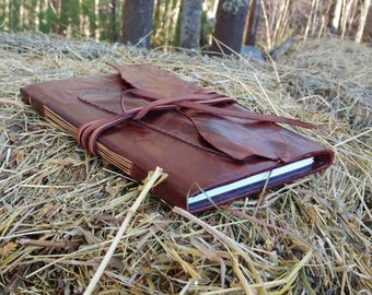 Marbled dark brown leather sketchbook with pencil-holder