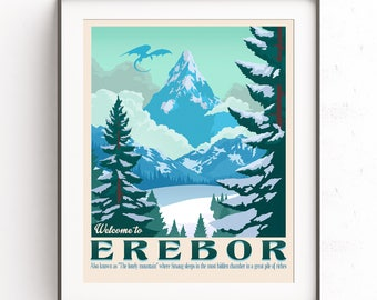 Erebor wall art. The Lonely mountain. The Hobbit. Smaug dragon. Bilbo Bolson. Tolkien retro travel. Lord of the rings. Middle Earth. Thorin
