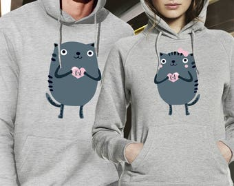 pärchen hoodies / couple sweatshirts/ his and hers hoodies / kitty couple hooded sweatshirts / couples matching set / mr and mrs