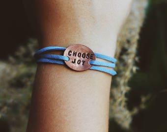 Choose Joy Wrap Bracelet, Mantra Bracelet, Yoga Jewelry, Inspirational Bracelet, Inspirational Jewelry, Choose Happy, Valentines Day Gift