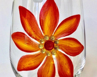 Stemless White Wine Glass with Red and Yellow Flower and Jewels