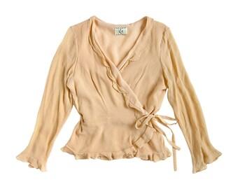 90s Powder Peach Beige Semi Sheer Long Sleeve V Neck Ruffle Tie Waist Wrap Blouse (Women's Size)