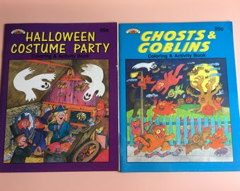 1991 Landoll's unused Halloween Coloring & Activity Book, Halloween Costume Party, Ghosts and Goblins