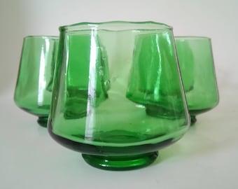 Vintage Green Glass Whisky Set of 5 Vintage Whisky Set Shot Glasses