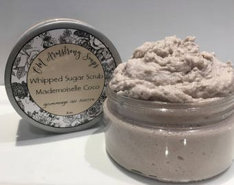 Whipped Sugar Scrub 8oz.-Mild Exfoliating Scrub-Fluffy and Soft to the Skin, Rich and Creamy, Paraben Free, 100% Natural and Handmade
