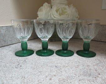 Vintage Green Stem Cordial Glasses Set of 4 / 1980's Avon