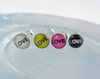 925 Sterling Silver Love Stud Earrings, Love Jewelry, Love Stud, Love Earrings, Message Jewelry, Message Stud, Message Earrings