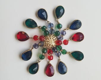 One Of A Kind! Grandma's Vintage Blue/Green/Red/Gold Beaded Tassel Brooch Pin. Unique and Well Made - Great Gift for Her!
