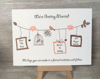 Save the date cards, save the date, bird cage, wedding, invitations, pink, card,
