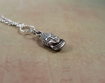 Delicate Silver Buddha Necklace with Figaro Silver Plated Chain, Multi-Layer