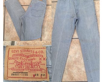 1980's Gray Levis Button-Fly Denim Jeans (Size 28 x 32) • Vintage Levis